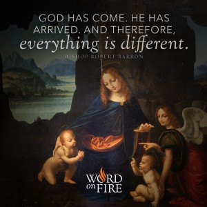 """""""God has come…and everything is different."""" -Bishop Barron"""