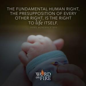 """The fundamental human right…"" -Pope Benedict XVI"