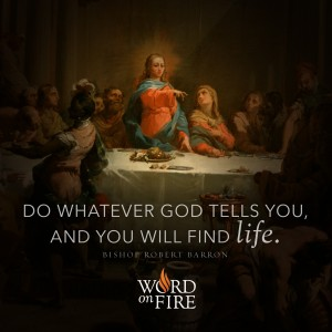 """""""Do whatever God tells you, and you will find life."""" -Bishop Barron"""