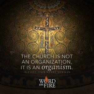 """""""The Church is not an organization, it is an organism."""" -Bl. John Henry Newman"""