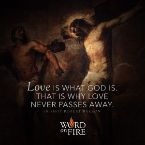 """""""Love is what God is. That is why love never passes away."""" – Bishop Barron"""