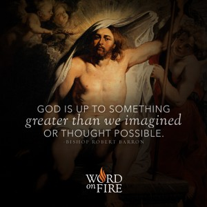 """God is up to something greater than we imagined or thought possible."" -Bishop Robert Barron"