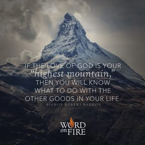 """""""If the love of God is your """"highest mountain,"""" then you will know…"""" -Bishop Robert Barron"""