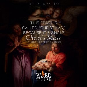 """""""This feast is called """"Christmas,"""" because it signals Christ's Mass."""" -Bishop Robert Barron"""