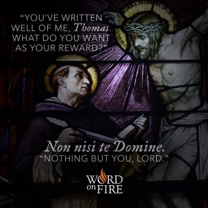 """Non nisi te Domine."" ""Nothing but You, Lord."" – St. Thomas Aquinas"