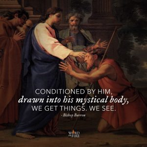 """""""Conditioned by him, drawn into his mystical body, we get things. We see."""" -Bishop Robert Barron"""