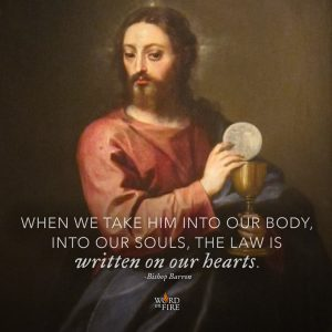 """When we take him into our body, into our souls, the law is written on our hearts."" – Bishop Robert Barron"