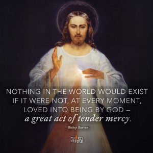 """Nothing in the world would exist if it were not, at every moment, loved into being by God…"" -Bishop Barron"