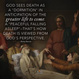 """God sees death as a 'dormition' in anticipation of the greater life to come…"" -Bishop Barron"