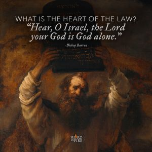 """What is the heart of the law? 'Hear, O Israel, the Lord your God is God alone.'"" –Bishop Robert Barron"