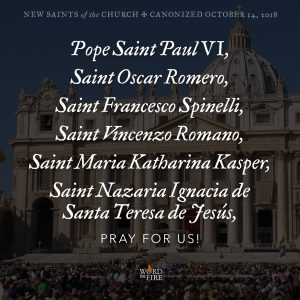New Saints, pray for us!